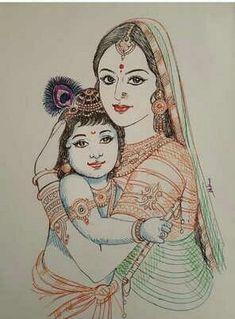 Kerala Mural Painting, Tanjore Painting, Indian Art Paintings, Bal Krishna, Krishna Art, Lord Krishna, Radha Krishna Sketch, Yashoda Krishna, Shree Krishna