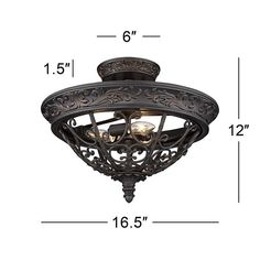 """French Scroll 16 1/2"""" Wide Rubbed Bronze Ceiling Light - #1H738   Lamps Plus Rustic Pendant Lighting, Open Frame, New England Style, Entry Foyer, Black Enamel, Candelabra, Chinoiserie, Light Fixtures, Bulb"""