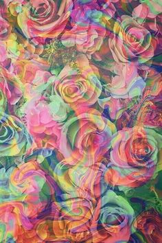 trippy roses by dixieee normus flowers psychedelic art trippy art colorful flowers