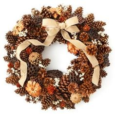 """27"""" Pinecones and Pods Wreath, Dried"""