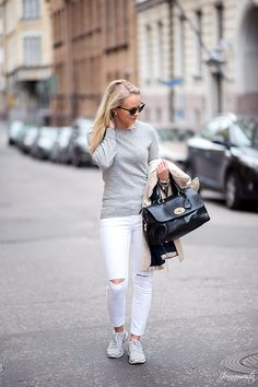 White Jeans with Sporty Touch