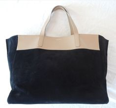 ~AUTHENTIC SAINT LAURENT YSL BLACK SUEDE & NUDE LEATHER REVERSIBLE TOTE / BAG   #SAINTLAURENT #TotesShoppers