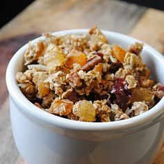 Tropical Granola~no sugar, uses mashed banana, some honey and dried fruit, flax, oats, applesauce etc.