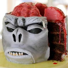 I think I could only eat this Monkey (jello) Brain Cake on Halloween....full instructions on this site.