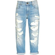 TOMMY BOYFRIEND DISTRESSED JEAN ❤ liked on Polyvore featuring jeans, destroyed jeans, boyfriend jeans, destruction jeans, boyfriend fit jeans and destructed jeans