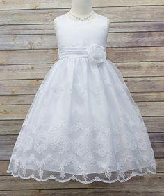Look what I found on #zulily! White Satin & Organza Embroidered Dress - Toddler & Girls #zulilyfinds
