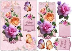 Spring roses with butterflies quick card on Craftsuprint designed by Carol Smith - a quick make topper sheet for the ladies has a floral theme with beautiful spring roses and butterflies, a versatile topper that could be used for a variety of occasions, tag says happy birthday but also a blank tag for the greeting of your choice.thank you for looking please take a peek at my other items - Now available for download!