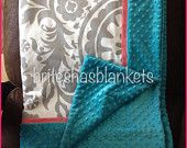 Grey suzanni with coral trim and teal minky dot baby blanket