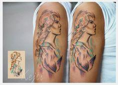 Artist Katarzyna Dumka @k.dumka #woman #tattoo #tattoogirl #bird #birdtattoo #ink #color #drawing #water #color