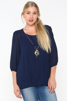 Charlene Top with Necklace in Navy | Women's Clothes, Casual Dresses, Fashion Earrings & Accessories | Emma Stine Limited