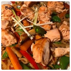 Salmon stir sty, marinated the salmon in fresh ginger and light soy sauce the grilled it. Stir fried the veg with garlic and ginger, added the noodles and dark soy sauce then mixed it up, flaked the salmon the added to the noodles and veg. Syn free and really tasty