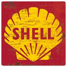 1961 Shell Gasoline Advertising Replica Grunge Sign USA Made Steel Vintage Style Retro Gas Oil Garage Art Wall Decor by HomeDecorGarageArt on Etsy Logo Vintage, Vintage Metal Signs, Vintage Labels, Vintage Ads, Vintage Style, Etsy Vintage, Garage Signs, Garage Art, Retro Logos