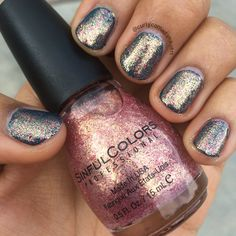 Sinful Colors Gilded 1383 (Holiday 2015 Glitz and Garlands collection) over Blue Crushin 1435