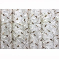 44 Wide Ivory N Pearl Gold Leaves Embroidered Sheer Curtain Panels Dry Window Treatment Fabric