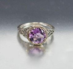 Vintage Sterling Silver Filigree Amethyst Ring Size 5.5 Engagement Ring Art Deco Wedding Jewelry