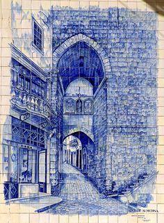 Arco de Almedine Blue tile mural from the streets of Coimbra, Portugal Portuguese Culture, Portuguese Tiles, Tile Murals, Tile Art, Coimbra Portugal, Art Nouveau, Blue Tiles, Classical Architecture, Delft