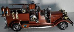 Vintage Tin Work Fire Truck - Hand Painted - Insert Siren Noise Here