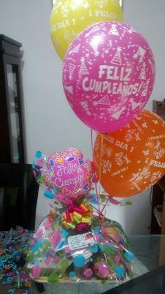 Premium cumple + globos helio Party Kit, Box, Gift Baskets, Happy Birthday, Presents, Manualidades