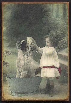 Little Girl Dog St. Bernard Bath 1800s Vintage Photo Print