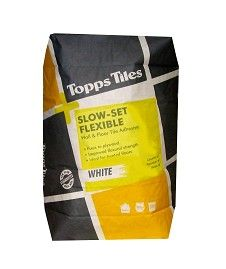 Topps Tiles Slow Set Single Part Flexible A great adhesive for fixing porcelain, vitrified tiles and mosaics.Four hour workable pot life.Built in polymerWill fix on to 15mm WPB plyboard.Suitable for heated subfloors.Average coverage of 5m http://www.MightGet.com/february-2017-2/topps-tiles-slow-set-single-part-flexible.asp