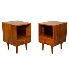 I have these night stands, couldn't decide if I wanted to paint them almond but I think I will leave them alone. Pair of Mid Century Walnut Nightstands - Glenn of California | From a unique collection of antique and modern night stands at http://www.1stdibs.com/furniture/tables/night-stands/