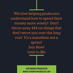 We love helping producers understand how to spend their money more wisely!  Don't throw away $$$ on things that don't serve you over the long run!  It's a marathon not a sprint! Join Now!  Link In Bio  http://ift.tt/JmQzAV  #musicbusiness #futureproducer #grammyproducer #musicproducerlife #producerlife #musicnetworking #producer #producermotivation #producergrind #produceroftheyear #musicbusiness101 #musicbusinesslife #musicbusinessinterns #musicbusinessbasics #musicbusinessmanagement…