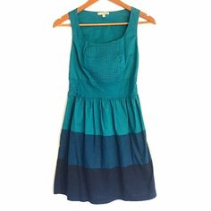 Teal & Blue Gradient Sun Dress Beautiful pre loved dress. No flaws. Goes from teal to blue to dark blue. Fit & flare style. Elastic waistband. 97% cotton 3% spandex so it has a bit of give though it remains structured. Dress up or down! Wear to work, a day out shopping, girls lunch, or for date night! Size small, could also fit XS.   ❎No trades  ✅Offers considered through the offer button Dresses Mini