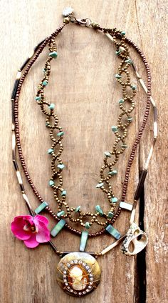 ROMANTIC DIVA - Bohemian gypsy necklace in Brown, Cream, Gold with wired Shell Cameo strass pendant - Bohemian jewelry & African jewelry. €159.95, via Etsy.