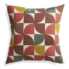 Crate and Barrel's Linet 18-inch Pillow: Pantone Color of the Year 2015 Marsala
