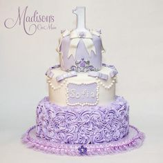 A Sofia The First themed birthday cake, for a little girl named Sofia...turning 1!  The perfect theme for this little Princess.  Photo by Kevin Paul Photography.