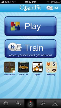 CogniFit Brain Fitness - an app that is designed to work out, strengthen, and assess one's cognitive fitness levels through fun mind games in the form of visual puzzles are presented for free to each user and is fully integrated to the complete CogniFit website, so users can play games and save scores on both the website and the app. Users can also challenge their friends to games.  this app is an excellent way to train cognitive skills for users of all ages and is wonderfully simple to use.