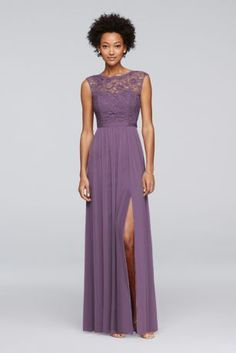 Looking for a little lace for your bridesmaids? This long bridesmaid dress features a lace bodice, an illusion neckline, a ribbon-defined waist, and a fluid mesh skirt with a slit.  Polyester, rayon, nylon  Back zipper; fully lined  Dry clean  Imported
