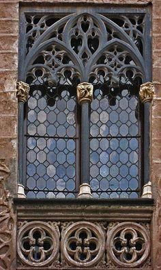 Beautiful Gothic black limestone window surround in Segovia.