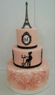 stunning paris themed birthday cake but instead of the m an L Paris Birthday Cakes, Paris Themed Cakes, Paris Cakes, Spa Birthday, Birthday Parties, Gorgeous Cakes, Pretty Cakes, Cute Cakes, Amazing Cakes