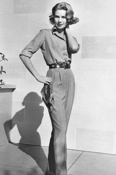 Pressed pants and a fitted blouse, 1956.   - TownandCountryMag.com