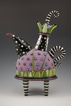 Purple Jester Teapot by natalyasots on Etsy, $495.00