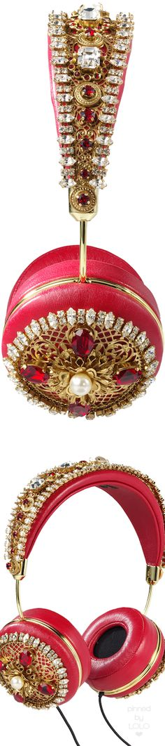 Dolce&Gabbana Red Headphones | LOLO❤︎ Crown Headphones, First Perfume, Embellished Shoes, Pin Logo, Clothes Crafts, Red Fashion, Couture, Little Gifts, Luxury Beauty