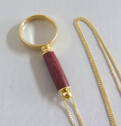 Magnifying Glass Necklace , Purple Heart Wood Handle , Gift Bag , Gift for Mother by Quiltwear on Etsy