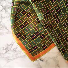 Vintage Vera Neumann Scarf- geometric print Vintage Vera scarf with a modern pink, green and orange geometric print. 100% acetate. Vintage Accessories Scarves & Wraps