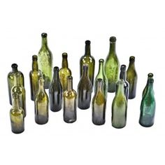 "large lot of late 19th and early 20th century all original chicago privy dug richly colored green largely unembossed ""utility"" glass bottles"