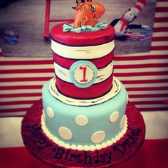 Cat in the hat birthday -thing one and thing two -decoration-party-first birthday- cat in the hat cake Cake Designs, Elegant, Hats, Birthday Cake, Cake Templates, Classy, Chic, Sombreros, Birthday Cakes
