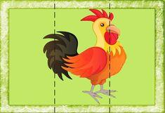 Разрезные картинки для детей 3-4 лет. 112 рисунков! Exquisite Corpse, Farm Animals, Rooster, Activities, Education, Cards, 3 Piece, Puzzles, School