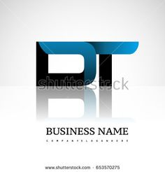 Initial letter DT uppercase modern and simple logo linked blue and black colored, isolated in white background. Vector design for company identity.