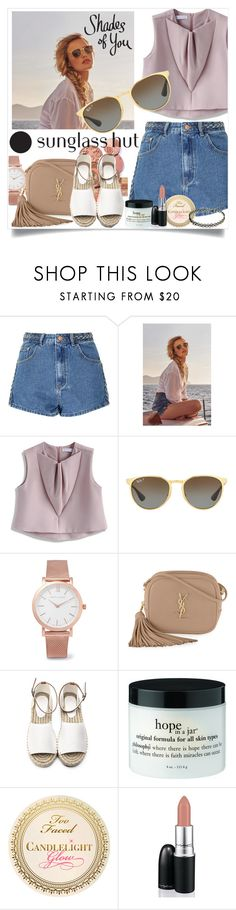 """""""Shades of You: Sunglass Hut Contest Entry"""" by amira ❤ liked on Polyvore featuring Glamorous, Chicwish, Ray-Ban, Larsson & Jennings, Yves Saint Laurent, David Jones and shadesofyou"""