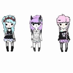 3/3 Adopt one only! Rae, Lola, and Pixie. Rae loves making flower arrangements and her favorite band is FOB. Lola loves anime and cosplaying is a big part of her life. Hardcore Otaku. Pixie loves screamo music and almost never sleeps.