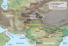 The Kushan Empire at the time of Kanishka I (ca. 127–150 CE) and the most important international trade routes.