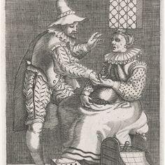 Het ongelijke liefdespaar, Johann Theodor de Bry, after Gillis van Breen, Pieter de Jode, 1596 - Rijksmuseum