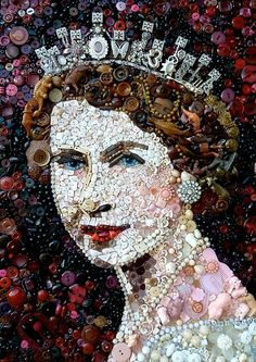 mosaic art made with buttons- Queen Elizabeth II