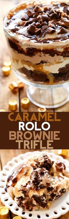 Caramel ROLO Brownie Trifle - This dessert is so incredibly rich and delicious! With layers of ROLO brownies caramel mousse gooey caramel chocolate mousse chocolate sauce and ROLOS this is sure to be a show stopper wherever it goes! Rolo Brownies, Salted Caramel Brownies, Chocolate Brownies, Easy Desserts, Dessert Recipes, Parfait Recipes, Layered Desserts, French Desserts, Gourmet Desserts