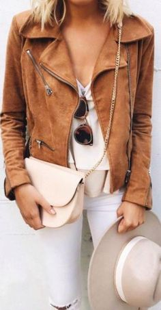 fall style. neutrals. tan leather jacket. white denim.
